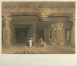 Interior of the great Cave Temple of Elephanta, near Bombay, drawn in 1803